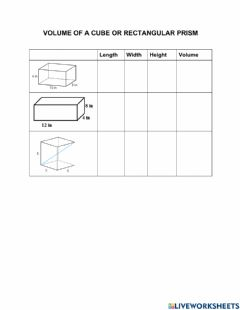 Interactive worksheet Volume of Cube and Rectangular Prism