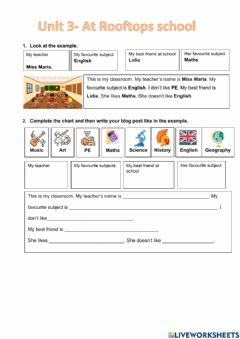 Interactive worksheet Writing about school