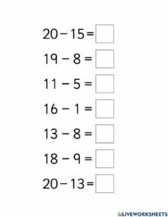 Interactive worksheet Subtract single number from a two digit number