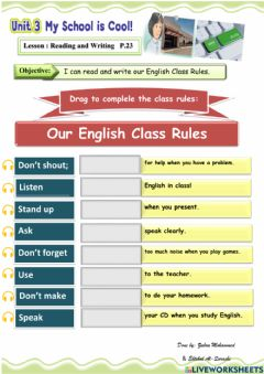 Interactive worksheet Our rules in English class
