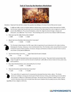 Interactive worksheet Trail of Tears Worksheet
