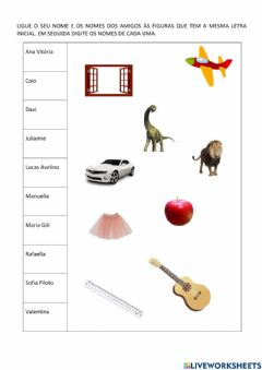 Interactive worksheet A letra inicial