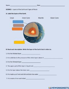 Ficha interactiva Layers of the Earth