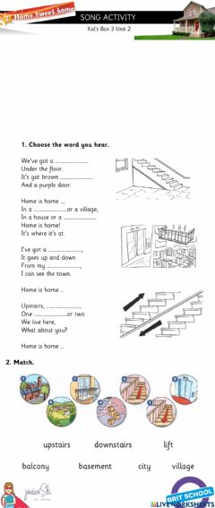 Ficha interactiva Song Activity-Home Sweet Home Kid's Box 3 Unit 2