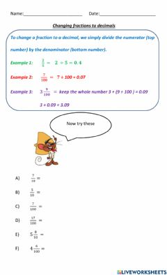 Interactive worksheet Converting fractions to decimals