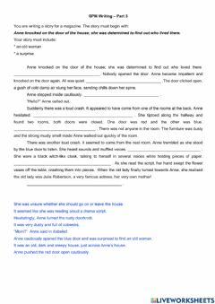 Interactive worksheet Writing a story