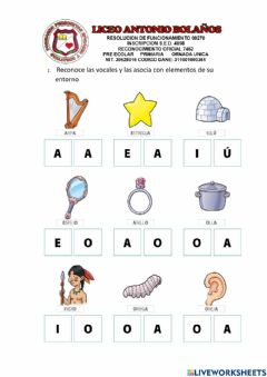 Interactive worksheet Vocales preescolar