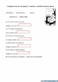 Interactive worksheet giocare con le rime