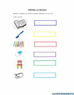 Interactive worksheet Mi mochila