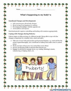 Ficha interactiva Puberty: What's happening to my body part 2