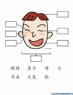 Interactive worksheet 我的头Body parts