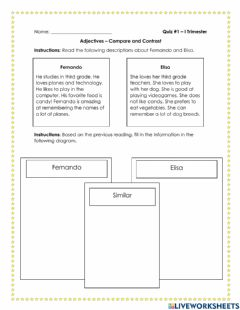Interactive worksheet Adjectives - Compare and contrast