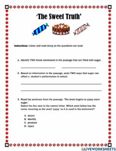 Interactive worksheet The Sweet Truth