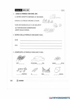 Interactive worksheet Ghe, ghi