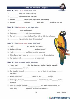 Interactive worksheet Usage A, An, May, Can, Teach, and Learn