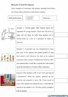 Interactive worksheet Hierarchy of social development