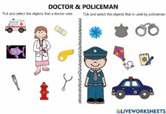 Interactive worksheet Doctor and Policeman