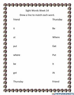 Interactive worksheet Sight Words Week 14