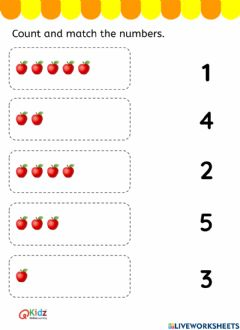 Interactive worksheet Count and match the numbers