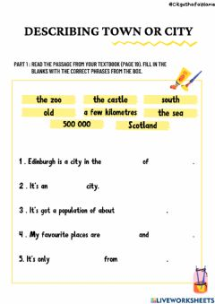 Ficha interactiva Writing: a description of town or city (TEXTBOOK PAGE 19)
