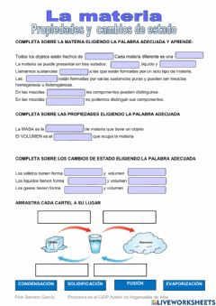 Interactive worksheet La materia