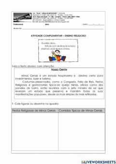 Interactive worksheet Ensino Religioso