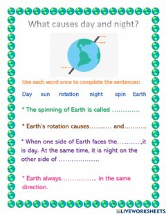Interactive worksheet What causes day and night