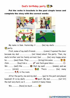 Interactive worksheet Past Simple - Dad's birthday party