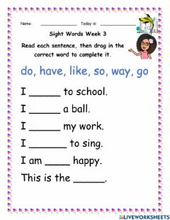 Interactive worksheet Listen and Fill in Sight Words Week 3