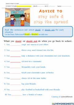 Interactive worksheet Keep safe and visit your doctor!