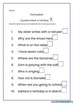 Interactive worksheet Question Mark or Full Stop?