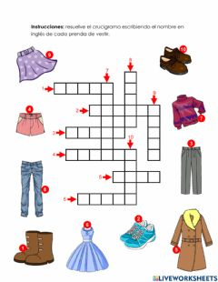 Interactive worksheet Clothes 1 - 1.9.4°