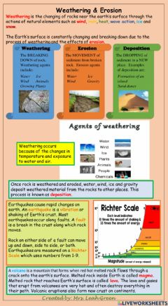 Interactive worksheet Weathering and Erosion Content notes