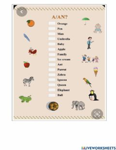 Interactive worksheet A and an
