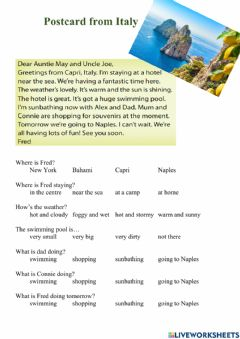 Interactive worksheet Postcard from Italy - reading
