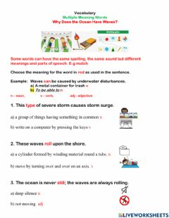 Interactive worksheet Multiple meaning words -waves