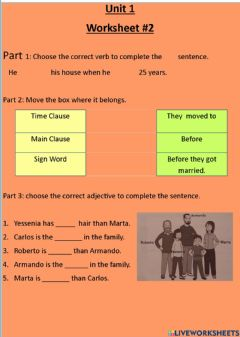 Interactive worksheet Simple past adverbial clauses