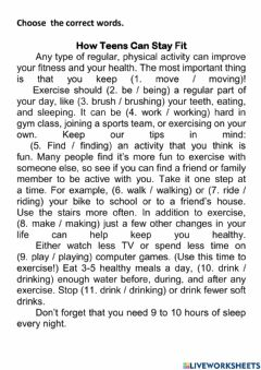 Interactive worksheet How to keep fit