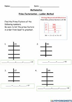 Ficha interactiva Prime Factorization - Ladder Method