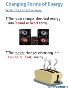 Interactive worksheet Changing forms of energy