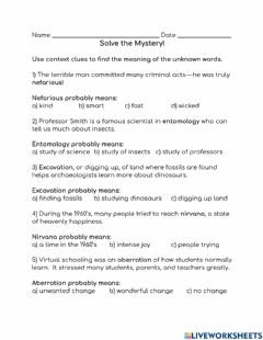 Interactive worksheet Solve the Mystery!