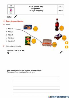 Interactive worksheet A special day: Step 4, Task 3