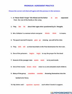 Interactive worksheet Practicing Pronoun Verb  Agreement