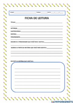 Interactive worksheet Ficha de leitura