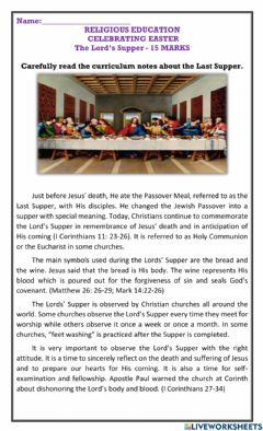 Interactive worksheet The Last Supper