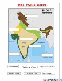 Interactive worksheet India- Physical Divisions