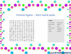 Interactive worksheet Personal hygiene - Word search puzzle