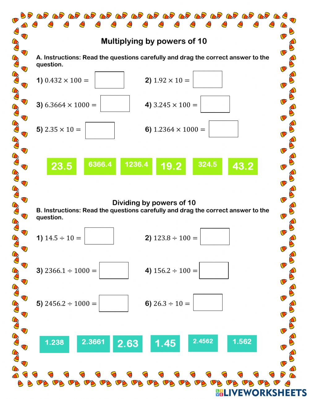 Multiplying And Dividing Decimals By Powers Of 10 Worksheet Dividing decimals live worksheet
