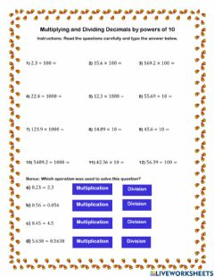 Ficha interactiva Multiplying and Dividing Decimals by Powers of 10