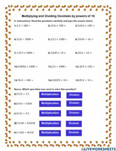 Interactive worksheet Multiplying and Dividing Decimals by Powers of 10